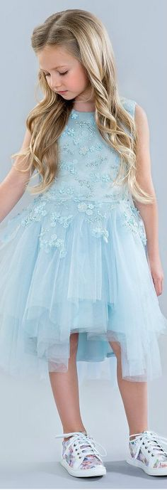 LE MU Girls Blue Beaded Tulle Party Dress. This stunning blue dress by Le Mu is perfect for special occasions. Love this gorgeous dress made in soft satin & a fitted bodice covered in tulle and exquisite beaded flower appliqués. Perfect vintage style party dress for a little princess at any special occasion or wedding. Pretty Style for for stylish kid, tween and teen girls.  #kidsfashion #fashionkids #girlsdresses #childrensclothing #girlsclothes #girlsclothing #girlsfashion #flowergirl