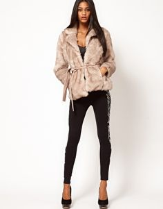Lipsy Belted Faux Fur Jacket