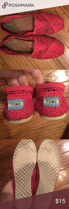 Pink Crochet Toms Hot pink Crochet Toms in sz 7.5. Used condition- slightly worn but still has a lot of life left in them! TOMS Shoes Flats & Loafers