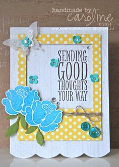 C@ro's kaartjes: Sending Good Thoughts Your Way - Simple Stems, Hardwood & Perfect Pennants stamps.