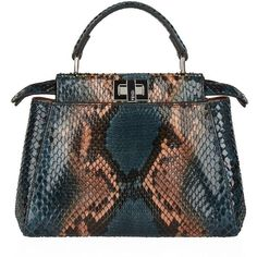 3624572faef96 Fendi Mini Peekaboo Python Top Handle Bag (344.265 RUB) ❤ liked on Polyvore  featuring