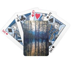 Wooded Reflection-Blue 1 Bicycle Playing Cards