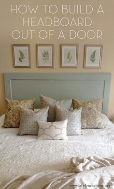 DIY Furniture: DIY Bed: DIY Home Idea: DIY Headboard out of a Door Would put a red silky fabric in the center. and the outside would be black.
