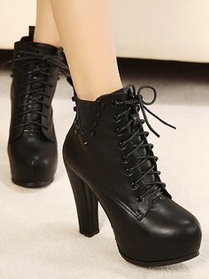 Lace up Black Chunky Heel Rivets Boots