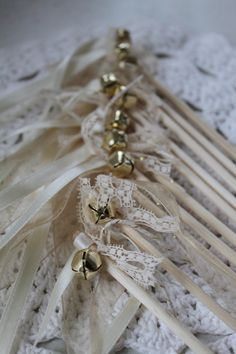 Gold & Ivory Wedding Wands - Set of 10 with Lace, Ribbon, Bell (Country / Rustic / Vintage Wedding Props Decor) Australia via Etsy