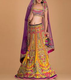 Yellow & Pink Embellished Silk Lehenga Set