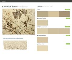 Barbados Sand. Granite Collection . Natural stone slabs. Daltile. Behr. Benjamin Moore. Ralph Lauren Paint. Sherwin Williams. Valspar Paint.  Click the gray Visit button to see the matching paint names.
