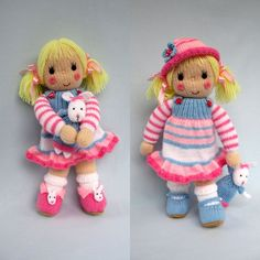 BETSY and her BUNNY knitting pattern with dress hat por dollytime