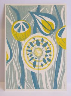 Taille de la carte postale est A6, lavant est imprimé de linoléum sculptés à la main, blocs, main tiré que trois couleur tirages. Imprimé avec des