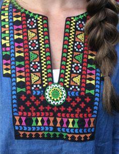 Denim Bright Embroidered Tunic