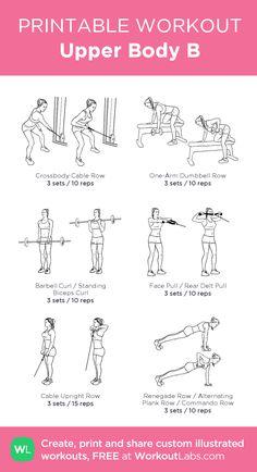 Upper Body B · WorkoutLabs Fit - Body Workout 2020 Slim Fitness, Planet Fitness Workout, Bikini Fitness, Upper Body Workout Gym, Upper Body Workout For Women, Fat Workout, Bridge Workout, Glute Bridge, Gym Workout Plan For Women