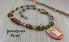 Red Ceramic Owl Necklace with Czech Glass and by downtownglam, $54.00