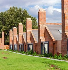 Brick bungalows provide social housing for elderly residents in east London.