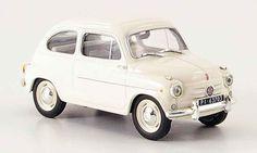 Fiat 600 white IXO diecast model car 1/43