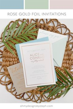 Modern Rose Gold Foil Wedding Invitations with a minimalist vibe. Simple typography, powder green and bright blue envelopes, and an insert card with mustard thermography on recycled kraft cardstock - order an invitation sample now!