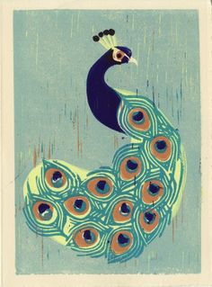 Indian Peacock Hand-pulled Linocut Art Print by Anna See on The Bazaar.