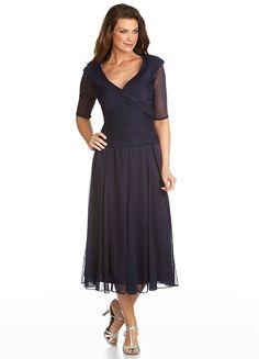 Alex Evenings 132141 Mesh Portrait Tea Length Dress