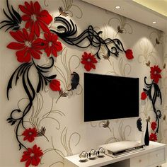 Discover thousands of images about Acrylic Material Living Room Wall Sticker Wall Art Wallpaper, 3d Wall Art, 3d Wallpaper Living Room, 3d Wall Murals, Wallpaper Stickers, Wallpaper Ideas, Tv Wall Decor, Wall Stickers Home Decor, Wall Tv