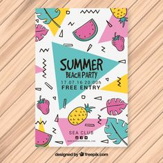 Summer party memphis brochure with fruits Free Vector