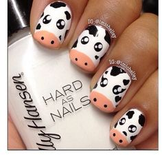 Cow nails are too cute ! Nail Art Designs, Animal Nail Designs, Animal Nail Art, Pig Nail Art, Cow Nails, Nails For Kids, Cute Nail Art, Beauty Nails, Pretty Nails