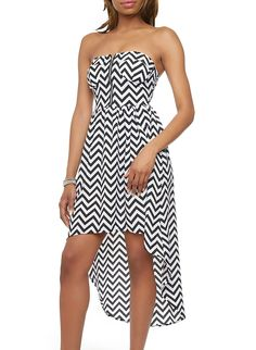 Rainbow Shops Chevron Print Zip High-Low Dress With Sweetheart Neckline $16.99