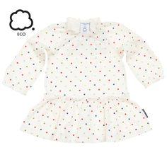 ECO friendly dress with tiny dot print for newborn girl.