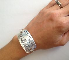 Mother's Day - Extra Large Smooth and Shiny - Your Child's Actual Writing Silver Message Tension Bracelet - Samantha Style -Made to Order via Etsy.