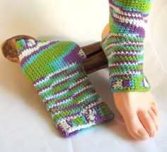 Crochet Yoga Socks, Exercise Apparel,  Dance/Gymnastic, Flip Flop Socks, Pilates Clothing,  Accessory by SewDarnComfy on Etsy