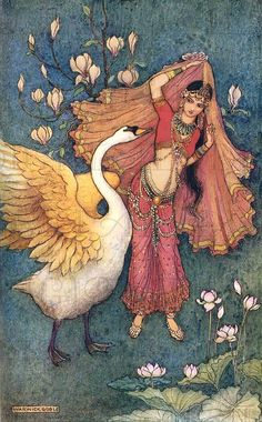 image : Children's / Fantasy Illustrations: Warwick Goble - Damayanti This is another Arabian Nights-esque illustration I found, but I think it is unrelated. Art And Illustration, Art Illustrations, Fantasy Kunst, Fantasy Art, Warwick Goble, Edmund Dulac, Fairytale Art, Art Moderne, Arabian Nights