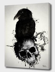 3bb1d0b3f82 «Raven and Skull» Canvas Print by Nicklas Gustafsson