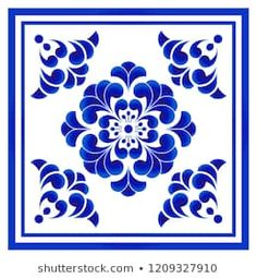 Blue and white porcelain flower pattern Chinese and Japanese style, ceramic seamless background, Big floral element in center is frame, beautiful tile design, vector illustration Motifs Islamiques, Lotus Flower Pictures, Style Japonais, Scandinavian Folk Art, Blue Pottery, Islamic Art Calligraphy, Mandala Drawing, Arte Floral, Decoupage Paper