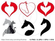 Horse, cat and dog clip art set, animal digital clipart, pet icons, graphic design, logo design, vector, EPS, SVG files, instant download