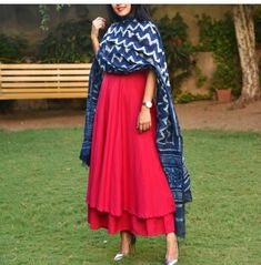 Red kurti with blue printed dupatta. Nice combination