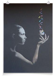 """De-Saturate"" by John Doe. 420 x 594mm 20-color Screenprint. Ed of 125 S/N."