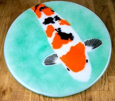 9.5 inch Koi Pattern Fused Glass Plate Teal and Light Cyan.