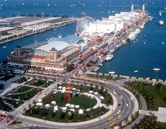 Navy Pier is a 3,300-foot long pier on the Chicago shoreline of Lake Michigan. It is located in the Streeterville neighborhood of the Near North Side community area. The pier was built in 1916 at a cost of $4.5 million.