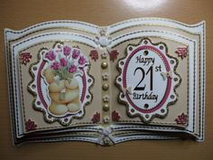 Commission 21st Birthday Bookatrix 21st Birthday, Birthday Cards, Book Making, Card Making, Pop Up Box Cards, Card Book, Glitter Girl, Easel Cards, Paper Folding