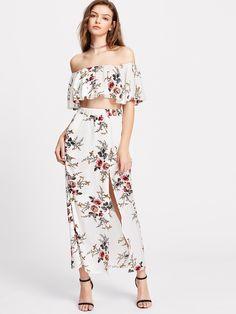 c7051ad005a652 MakeMeChic - MAKEMECHIC Flower Print Crop Swing Bardot Top With Slit Skirt  - AdoreWe.com