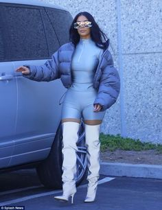 Here's a major difference between Kim Kardashian and Kanye West. Kim K puts that business brain to work. Estilo Kardashian, Kim Kardashian And Kanye, Kardashian Style, Kardashian Jenner, Catsuit, Style Kim K, Bomber Jacket Outfit, Yeezy Outfit, Models