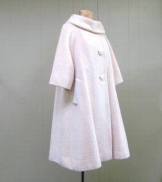 Vintage 1950s Lilli Ann ivory mohair wool swing coat