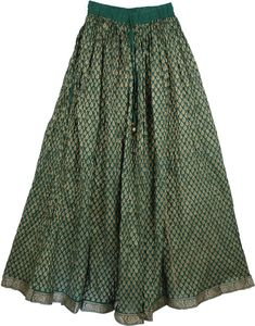 Bottle Green Firefly Sparkle Skirt TLB Cotton Skirt with Golden Print - All over bottle green skirt with a bright golden leaf print throughout the skirt Boho Outfits, Skirt Outfits, Dress Skirt, Cute Outfits, Fashion Outfits, Beautiful Dresses For Women, Nice Dresses, Long Skirt Fashion, Sparkle Skirt