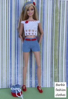 Barbie Knitting Patterns, Barbie Clothes Patterns, Crochet Barbie Clothes, Crochet Dolls, Clothing Patterns, Moda Barbie, Fashion Dolls, Fashion Outfits, Fashion Clothes