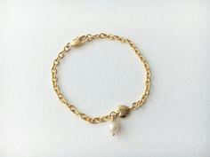 Pulsera cadena corazon y perla Q145 D