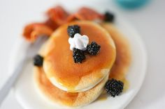 Polymer Miniature Pancakes with Blackberries and Bacon!
