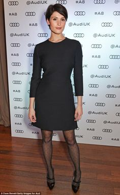 Gemma Arterton and Anna Friel glam up for exclusive Audi launch party Chic: Letting her simple yet chic ensemble do all of the talking, she also kept her accessories to a minimum, wearing delicate gold earrings and a ring to the bash Gemma Christina Arterton, Gemma Arterton, Pantyhose Outfits, Nylons, Pelo Pixie, Beautiful People, Short Hair Styles, Sexy Women, Dresses For Work