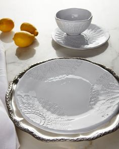 """12-Piece """"White Lace"""" Dinnerware at Horchow.besides the dinnerware, I love the charger!! #Horchow"""