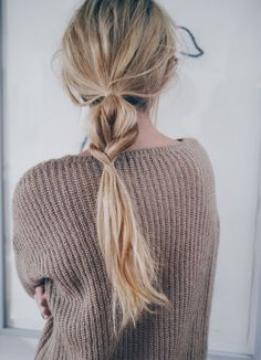 cute braided low pony tail messy and easy hair style