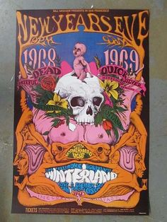 Grateful Dead 1968 Winterland concert poster Conklin 2nd