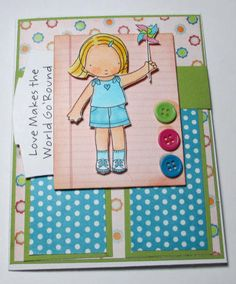 MFT Girl Wishing You Well Handmade Card by LoveInBloomCreations, $3.00