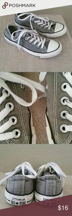 Gray Converse Chuck Taylor sneakers low size 7 Gray Converse Chuck Taylor all star sneakers low, pre-owned, see pics for flaws, price reflects use, size 7, could use a cleaning Converse Shoes Sneakers